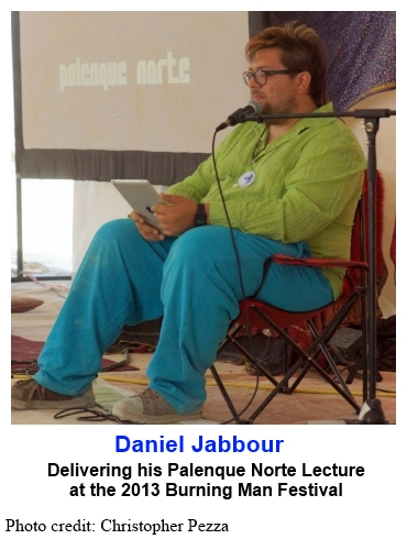 Daniel Jabbour delivering his Palenque Norte Lecture at the 2013 Burning Man Festival
